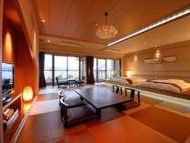 【レイクビュースイート】和洋室55㎡当館自慢の部屋。琉球畳の和モダン部屋。諏訪湖を一望。