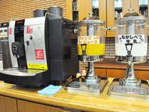 【朝食バイキング】人気の「なかしべつ牛乳」の他、ジュースやコーヒー類が充実!