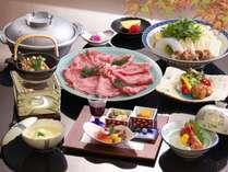 喜楽亭選べる鍋プランのお料理例(上州和牛選択)
