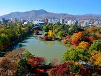 秋晴れした空と、中島公園の紅葉が鮮やか