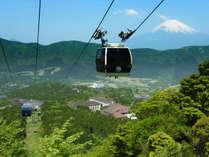 ★ロープウェイから見た富士山と当館外観。姥子駅から徒歩約3分