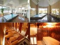 左上から男性展望浴場:女性大浴場  左下から 女性専用岩盤浴:男性浴場ミニサウナ