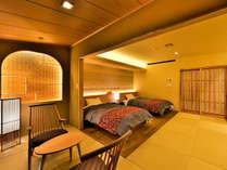 土風の壁や、杉の柱、栗の床など、自然の温もりが心地よい、和モダンのベッドルーム。