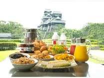 熊本城を眺めながら朝食を
