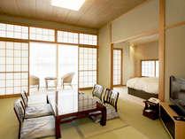 【和洋室(喫煙)一例】和と洋の融合♪寝るときはベッド、寛ぐ時は畳でごろごろ♪それが叶うお部屋です。
