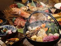 姉妹館・朝陽亭【食事処 北番屋】炭火で味わう鍋物など、創作本懐石(内容は異なる場合がございます)