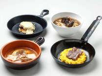 【ル・マッターホルン】<実演料理>エゾシカ肉ハンバーグラクレットチーズ焼きなど(夕食一例)