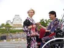 【浴衣プラン】レンタルチケット付きプラン。浴衣で姫路城をバックに写真を撮ろう♪