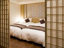京都の風情が溢れる寝室(DXスイート)