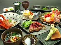 月懐石-極:伊勢海老のお料理や国産牛のサーロインを使用した華やかなコースです。