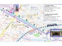 総合フロントからホテルへの地図