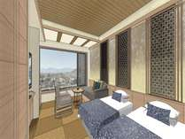 「南アルプスを取り込んだ和のリゾート」をコンセプトにリニューアルした客室