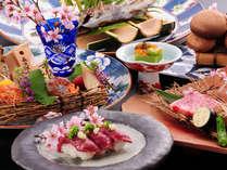 <夕食一例>熊本の豊かな自然が育んだ新鮮な食材を最大限に活かした会席料理☆
