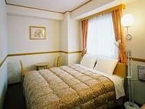 14.44平米のダブルルームには幅160cmのベッドがあり、1人利用も受入れしています
