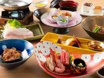 【嵯峨会席一例】調理長自慢の創作和食はお客様高評価を頂いております。