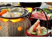 【定番】山形牛スキヤキ&ズワイ蟹&アワビ陶板焼き