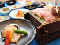 【当館一番人気】アワビの陶板焼きとヘルシーな八幡平産杜仲茶ポークの和食膳&温泉満喫プラン