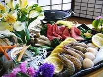 あわび・熊野牛・車海老・烏賊・帆立・お野菜を、焼いてもOK,お刺身でもOK