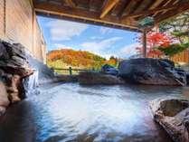 磐井川と渓谷を眺めることができる、泉質自慢の露天風呂です。