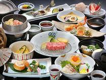 【夕食】柔らかくジューシーな黒毛和牛と旬の食材をふんだんに使用した人気の会席料理