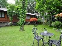 鮮やかな緑の中に、四季折々の草花が咲き誇る清々しい雰囲気の中庭一角。