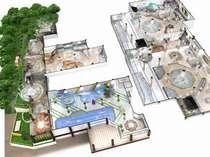 【俯瞰図】たっぷりの湯が絶え間なく溢れる1500坪の『温泉天国大浴場』。七種の源泉をお楽しみください。