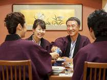 【お食事処「湯の里」】旬の料理と美味しいお酒。いつもよりも会話が弾む夕べのひと時をお過ごしください。