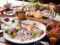 ・【木蓮会席】朝獲れの新鮮魚介(関アジ、鮑、伊勢海老、etc.)やミニステーキは絶品!/一例