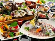 ・朝獲れの新鮮魚介(関アジ、鮑、伊勢海老、etc.)やミニステーキは絶品!/一例