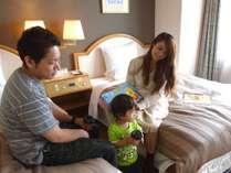 家族でゆっくり過ごすことが出来るツインの部屋は23.5平米です
