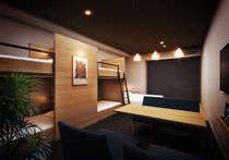 全17室デザイン事務所設計。ロフトベッドにダブルベッド・ツインベッド設置のデラックスルーム。