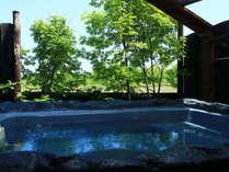 夏季は眼の前に美しい大自然が広がる露天風呂をお楽しみいただけます。