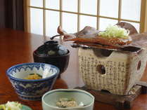 朝食のほう葉味噌 惣助オリジナルの味ご飯がすすみます