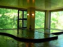 浴槽には湯の花が浮かんでおり、窓からは四季折々の景色が見られます。