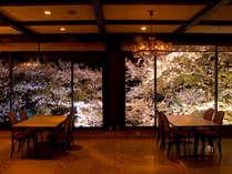 桜がライトアップされた幻想的な空間でのお食事。。