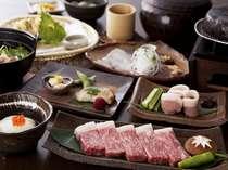 ちょっと贅沢♪和牛ステーキ石焼付会席を掘り炬燵式のお食事処で。(全席禁煙)
