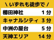 最寄り駅は博多駅に隣の祇園駅。観光にとっても便利な立地です。
