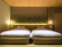 【特別フロア】6階・りっか。ベッドスペース。ダブルサイズのシモンズベッドで心地よい睡眠を。