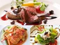 【夕食】サラダ、スープ、メイン2種(魚介、肉類)、ライス、デザート、コーヒーまたは紅茶の全7品