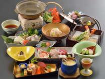冬の味覚会席料理一例。時季仕入等により写真とは異なる場合がございます。