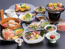 丸々一杯の蒸しずわい蟹を堪能できる「福浦会席」