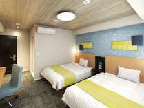 【ツインルーム】壁紙、浴室設備、寝具類も一新し、よりお寛ぎいただける空間へと生まれ変わりました。
