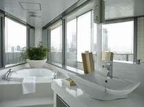 エヴァーホワイトのバスルームは180度以上の展望