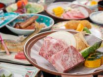 ■グレードアップ■メイン料理の地元山本の<信州牛>が角切りステーキにグレードUP!