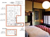 間取りと1階の寝室(10畳)