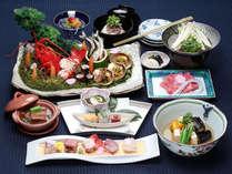 ☆特選会席料理コース。お刺身、お寿司、煮付け、お鍋と、自然に恵まれた滋賀の素材をいかしたお料理。