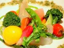 地元新鮮有機野菜をふんだんに使ったサラダ♪フランボワーズヴィネガーがおいしい。