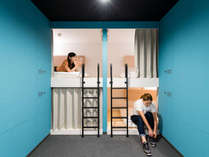 ◇禁煙◇バンクベッドは水周り共用のカプセルタイプの2段ベッド。男女完全別フロア。