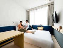 ◇禁煙◇スタンダードダブルルームはゆったり14平米。ベッド幅は広々150センチ。