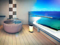 全室にオーシャンビューの温泉露天風呂を設置。常時湯張なので、いつでも好きな時に海を眺めながら温泉三昧